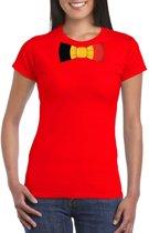 Rood t-shirt met Belgie vlag strikje dames 2XL