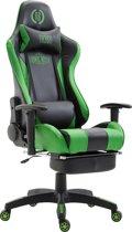 Clp Boavista - Racing bureaustoel - Kunstleer - zwart/groen, met voetsteun