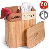 Bamboe Wassorteer Wasmand Met Deksel & Stoffen Waszak - Light & Dark Laundry Basket - 2 Vakken - 60 Liter