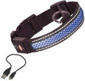 Nobby Verlichte Halsband - Hond - Oplaadbaar - Halsomtrek 34 tot 41 cm - Blauw