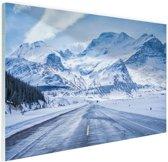 Besneeuwde bergen Glas 180x120 cm - Foto print op Glas (Plexiglas wanddecoratie) XXL / Groot formaat!