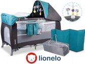 Lionelo Simon - 2 in 1 Reisbedje en Commode met vele accessoires en draagtas - Ocean Turquoise