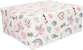 1x eenhoorn cadeaupapier 50 x 500 cm - Inpakpapier / kadopapier