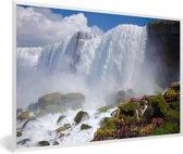 Foto in lijst - Rotsformaties voor de Niagarawatervallen fotolijst wit 60x40 cm - Poster in lijst (Wanddecoratie woonkamer / slaapkamer)