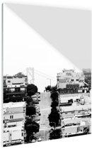 San Francisco zwart-wit Glas 40x60 cm - Foto print op Glas (Plexiglas wanddecoratie)