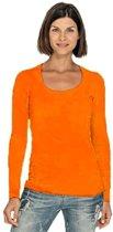 Bodyfit dames shirt met lange mouwen S oranje