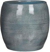 Mica Decorations - lester ronde pot blauw - maat in cm: 26 x 28