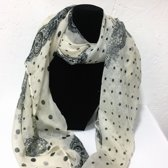 Fashionidea - Mooie beige zijde zachte sjaal met sierlijke zwarte prints