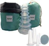8 stuks cupping massage cups voor lichaam en gezicht + pad, diadeem en tasje – gezichtsmassage - anti rimpel – anti cellulite – stimulatie bloedsomloop – tegen puistjes en acne – massage cups gezicht – massage cups lichaam