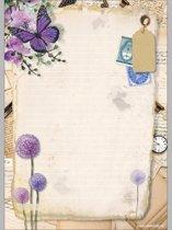 Schrijfblok Purple Flower - A4 formaat gelinieerd papier met lijntjes