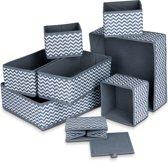 LifeGoods Kast Organizers - Set: 8 Stuks - Multifunctioneel Opberg Box/Doos/Mand/Vakken - Lade Verdeler Opbergsysteem - Kleding/BH/Sokken/Ondergoed/Speelgoed/Badkamer/Keuken - Grijs/Zwart
