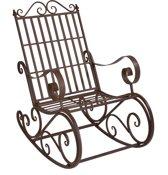 [casa.pro]® Metalen tuin schommelstoel - vintage - Bruin
