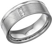 Ring met 2 zirkonia steentjes-Titanium-Zirkonia-zilverkleurig-maat 18