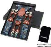 Chique moderne bretels - Blauw paisley dessin - Sorprese - middenbruin leer - 6 stevige clips - heren - unisex