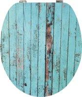 EISL WC-Bril EDHGBW01 - High Gloss - MDF-Hout - Soft Close - Verchroomde Scharnieren - Decor -2-zijdige Print - Blue Wood