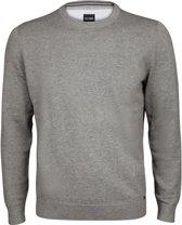 OLYMP heren trui katoen - O-hals - zilver grijs -  Maat M