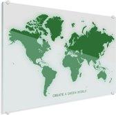 Wereldkaart groen plexiglas groot 120x90 cm