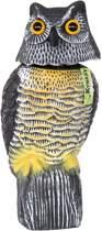 Bewegende Uil - Vogelverschrikker - Vogelverjager - Kunststof Roofvogel - Hoog 38 cm