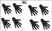 4x Paar handschoenen kort zwart mt.M
