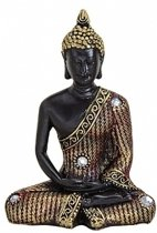 Boeddha beeld zwart/goud 11 cm type 2