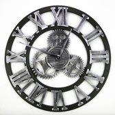 Grote Wandklok Industrieel Retro – Houten 3D Design Klok – Zilver
