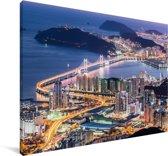 Skyline van Busan in Zuid-Korea in de avond Canvas 60x40 cm - Foto print op Canvas schilderij (Wanddecoratie woonkamer / slaapkamer) / Aziatische steden Canvas Schilderijen