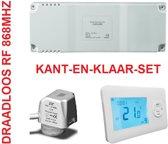 2X RF THERMOSTAAT, 3X THERMISCHE KLEP, KANT-EN-KLAAR (geen wifi), GESCHIKT VOOR 2 RUIMTES EN 3 GROEPS VERDELER, ZONEREGELING