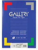 6x Gallery witte etiketten 105x48mm (bxh), rechte hoeken, doos a 1.200 etiketten