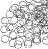 Stainless Steel Buigringen (8 mm) Antiek Zilver (100 Stuks) Dikte 1 mm