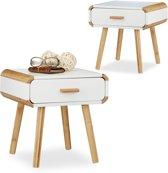 relaxdays 2 x nachtkastje met lade - nachttafel wit - bijzettafel - hout – Scandinavisch