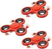 relaxdays 3 x Fidget Spinner - tri-spinner 58 g - hand spinner - antistress speelgoed rood