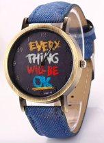 Hidzo Horloge Every Thing Will Be Ok ø 37 mm - Donker Blauw - In horlogedoosje