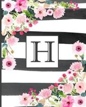 H: Pretty Monogram Initial Letter H Lined Notebook for Women or Girls to Write In - Black & White Stripes with Floral Des