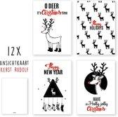 Kerstkaarten - kaartenset - ansichtkaarten - Kerst Rudolf - 12 stuks - wenskaarten