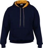Gildan Contrast Hood Heavy Blend Sweater Zwart/grijs L