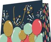 Luxe cadeau tas met glitter en koord - 6 stuks