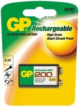 GP 1x 9Volt 200mAh oplaadbare batterij NiMH E-Block GP20R8H 6LR61 oplaadbaar