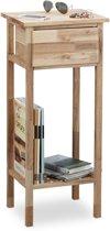 relaxdays Salontafel walnotenhout, telefoontafel met lade , houten tafel 2 plateaus