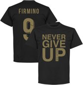 Never Give Up Liverpool Firmino 9 T-Shirt - Zwart/ Goud - M