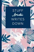 Stuff Amari Writes Down: Personalized Journal / Notebook (6 x 9 inch) STUNNING Navy Blue and Mauve Blush Pink Pattern