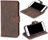 Gazzi - Echt Leer hoesje - iPhone 7/8 - Lederen Book Case - Vintage Brown