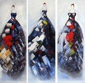 Schilderij 3 luik 90x90 vrouwen jurken Artello - Handgeschilderd