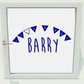 Geboorte Sticker It's A Boy Met Naam -  Donkerblauw -  60 x 25 cm  - Muursticker4Sale