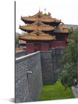De Confuciustempel van Qūfù vanaf de buitenkant Aluminium 40x60 cm - Foto print op Aluminium (metaal wanddecoratie)