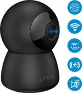 Looki 1080P Cloud Wifi HD Camera met iOS & Android Smart App – I3 Zwart - Bestuurbare IP Video Beveiligingscamera met Nachtzicht en Bewegingsdetectie – Two-Way Audio – Babyfoon met app