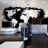 Fotobehang - Wit continenten, zwart oceanen ...