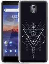 Nokia 3.1 Hoesje Abstract Moon White