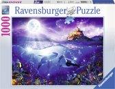 Ravensburger puzzel Walvissen in de maneschijn - legpuzzel - 1000 stukjes