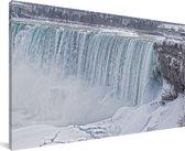 De Niagarawatervallen in de winter bevroren Canvas 80x40 cm - Foto print op Canvas schilderij (Wanddecoratie woonkamer / slaapkamer)