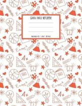 Graph Paper Notebook: 1/2 Inch Squares for Kids - Orange and White